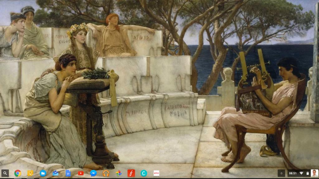 Le bureau de mon Chromebook. L'étagère présente quelques uns de mes usages quotidiens